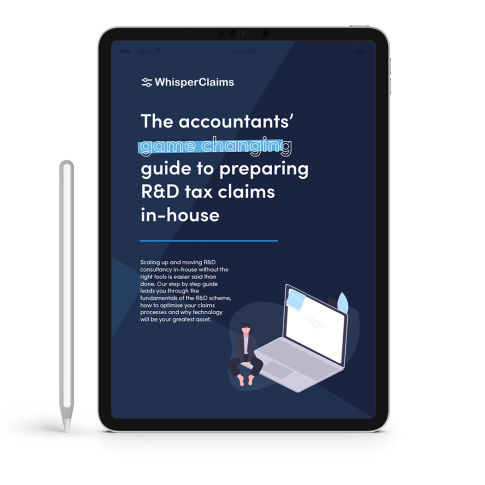 Mockup of WhisperClaims Ebook 1 - The Accountant's game-changing guide to preparing R&D tax claims in-house