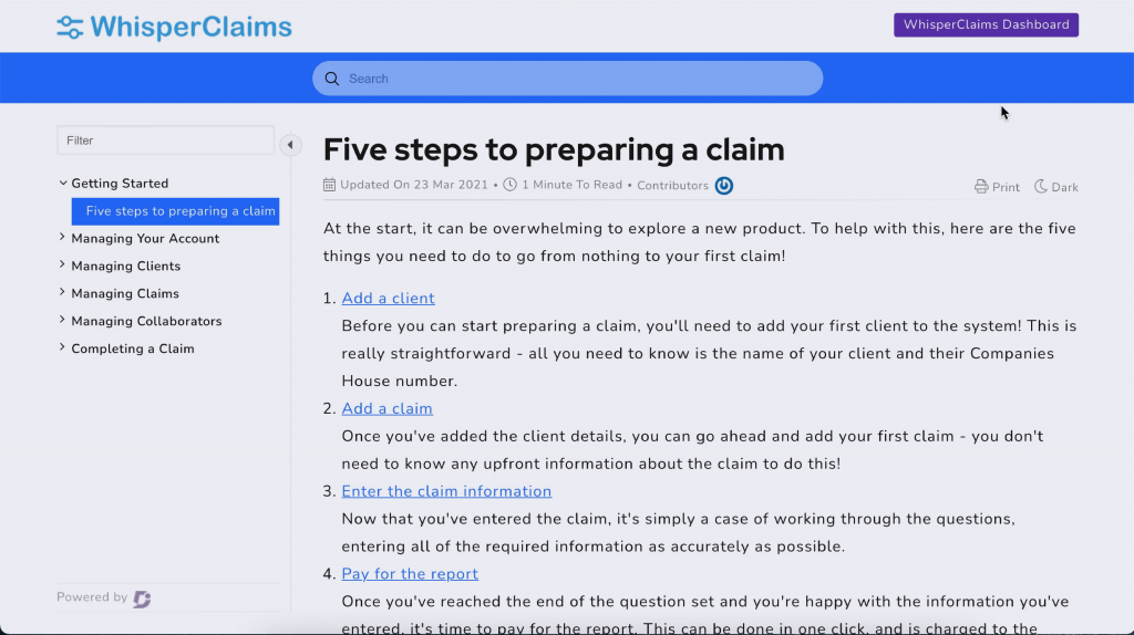 Preview of the WhisperClaims support page