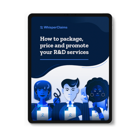 """Mockup of WhisperClaims Ebook 3 - """"How to Package, Price and Promote your R&D Services"""""""