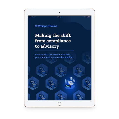 """Mockup of WhisperClaims Ebook 4 - """"Making the shift from compliance to advisory"""""""